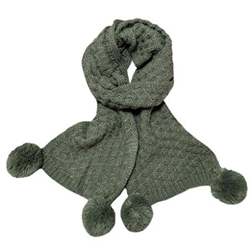 sunnymi 2-12 Jahre Alt Warmen Pure Farbe Stricken Kinderschal Baby Jungen Mädchen Unisex Herbst Winter 150cm (150cm, Armeegrün) (Shorts Bettwäsche Vintage)