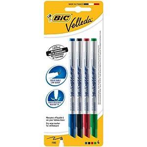BIC Velleda – Estuche de 4 marcadores de pizarra blanca fino, color negro, azul, roja y verde