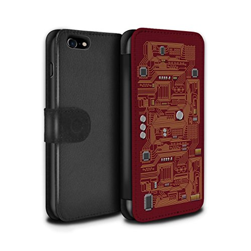 Stuff4 Coque/Etui/Housse Cuir PU Case/Cover pour Apple iPhone 7 / Rouge Design / Circuit Board Collection Rouge