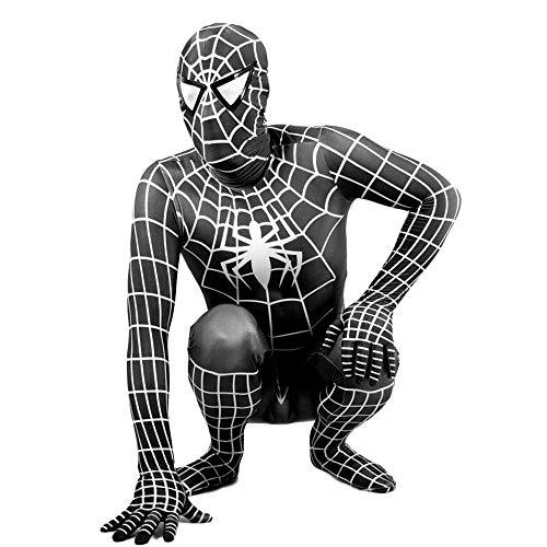 Bodysuit Spiderman Kostüm - XINFUKL Cosplay Kostüm Erstaunlich Spiderman Erwachsene Kinder Schwarz Vielseitige Engen Bodysuit Anzug,Black-140-150cm
