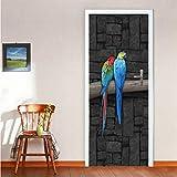Wc-asdcc 3D Perroquet Porte Stickers Muraux Chambre Décor À La Maison Affiche PVC Étanche Autocollant De Porte 77X200Cm