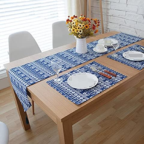 GL&G Blue Linen Table Runner for Farmhouse Decor home Party Table Decorations,blue,30*220cm