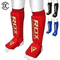 RDX Espinilleras Soporte fortsatz para deportes de lucha, satra Certificado–Espinilleras, todo el año, unisex, color rojo, tamaño small