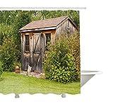AdaCrazy Rustikale alte charmante Haus aus Holz Scheune auf dem Land Gartenhaus Holz Landschaft Duschvorhang 3D-Druck Wasserdicht beschichtetes Polyester-Bad mit 12 Haken 71 Zoll