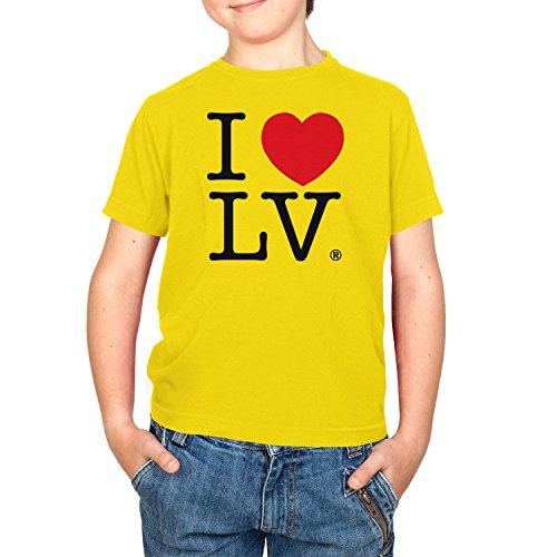 Texlab Kinder I Love Las Vegas T-Shirt, Gelb, 12-13 Jahre-152 (XL) -