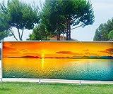 Stickersnews - Brise vue imprimé, jardin, terrasse, balcon déco Coucher de soleil Dimensions - 180x70cm, Occultation - 100%
