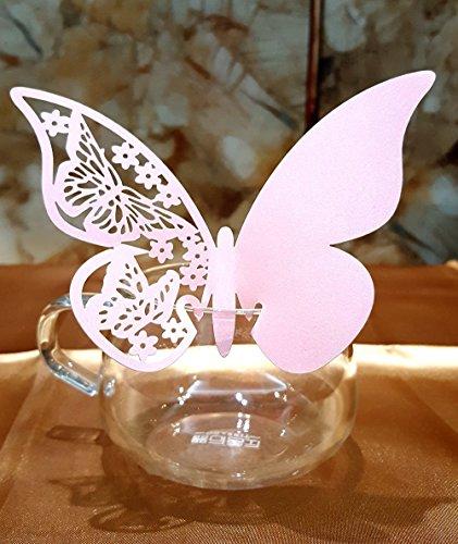 dikete® - Tarjetas de mesa, diseño 3D, 50unidades, tarjetas de nombre, cristal colgante, tarjetas pegatinas de pared (tarjeta de nombre para copa de vino, champán, copa, boda, regalo para invitados, fiesta hogar deco, rosa