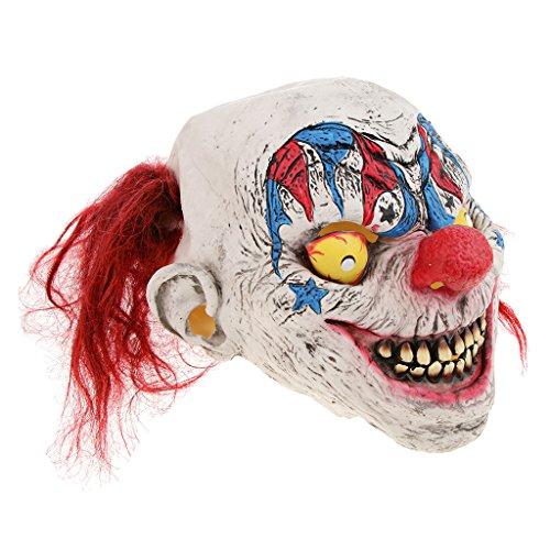 (Homyl Halloween Horrormaske Zombiemaske Clown Latexmaske Hexe Maske für Damen und Herren, Kostümstütze Halloween Props zum Kostümparty Cosplay Party Spukhäuser und Bar - Zirkus Clown)