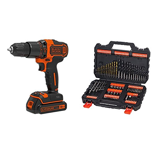 Black + Decker 2Speed Impact Drill with 2Batteries, Charger And Case–Pack of 1, 18V, BDCHD18KB + BLACK DECKER SET ACCESSORI 109 PZ (Speed Drill Impact)