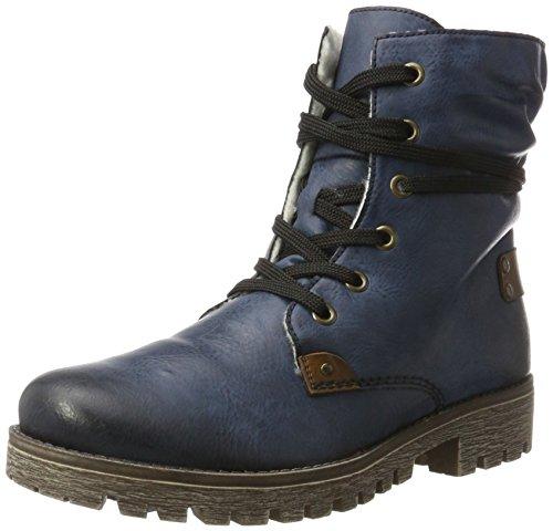 Rieker Damen 78530 Kurzschaft Stiefel, Blau (Ozean/Mogano), 40 EU