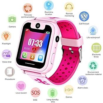 Smartwatch pour Filles Garçons GPS/LBS Position Tracker Enfant SOS Réveil Montres Appareil Photo Numérique Téléphone Mobile Montre pour Enfants Compatible ...