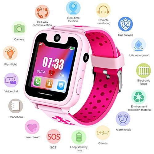 Niños Smartwatch - Reloj de Pulsera Inteligente con ubicación GPS/LBS Reloj Despertador SOS Reloj Digital Cámara Linterna Juegos para niños compatibles con iOS/Android