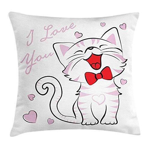 Juziwen Cat Lover Throw Pillow Cushion Cover, Cheerful Cat with Bow Tie and I Love You Message Hearts Joyful, Decorative Square Accent Pillow Case,Black White Red Pale Pink 16x16inch Navy Silk Bow Tie