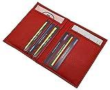 Porta carte d'identità e carte di credito pelle di vitello MJ-Design-Germany in 3 diversi colori (Rosso)