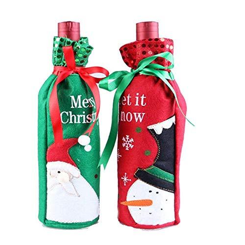 Tkstar, sacchetto copribottiglia di vino, con motivo natalizio, ideale per decorare la tavola o come regalo di natale, 1 coppia