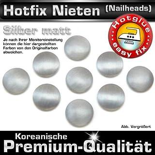 100 Stück Hotfix Metall-Nieten rund, Silber matt (Ø ca. 7 mm), Nailheads zum Aufbügeln