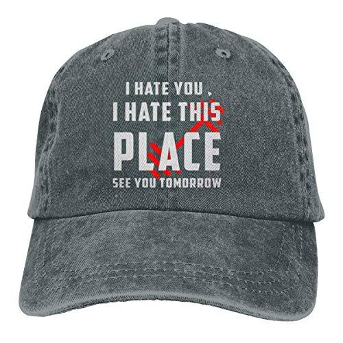 Presock I Hate You I Hate This Place See You Tomorrow Cowboy Cap Dad Baseball Hats Deep Heather - Heather Rim