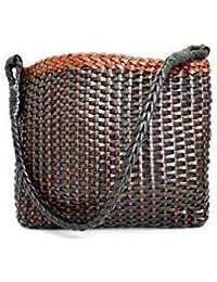 Generic Zairah Women's Leather Hand Woven Tote Bag (Black)