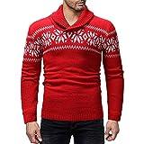 Celucke Norweger Pullover Herren Strickpullover mit Schalkragen, Winter Warm Pulli Casual Sweatshirt Langarm Winterpullover