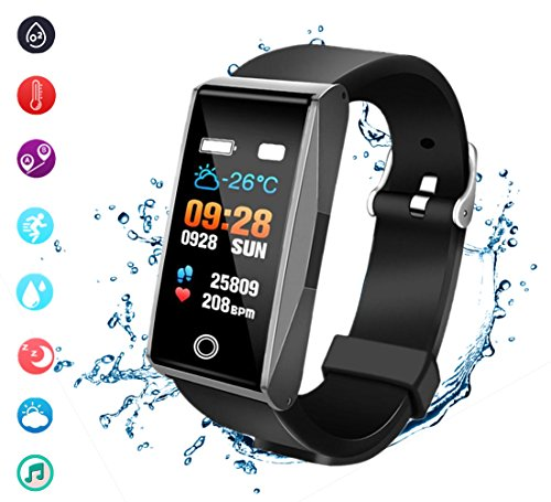 beaulyn Fitness Trackers Pedometer Heart Rate Blood Pressure Monitor Activity Tracker Watch Bluetooth IP67 Waterproof Color Screen for Android and IOS phones Kids Men Women