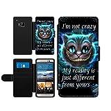 Alice im Wunderland I'm not crazy Cat Cheschire Kunstleder wallet Handy Tasche Schutz Hülle für HTC One M9