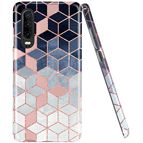 JAHOLAN Huawei P30 Hülle Handyhülle TPU Silikon Weiche Schlank Schutzhülle Handytasche Flexibel Case Handy Hülle für Huawei P30 - Shiny Rose Gold Gradient Cubes