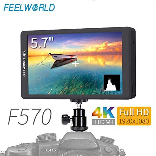 Sixcup FEELWORLD F570 5,7 Zoll DSLR auf Kamerafeldmonitor Kleiner HD Fokus Video Assistent HDMI Input Output IPS Full HD 1920x1080 Unterstützung 4K (Black) Canon Prima Mini