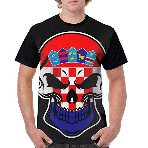b8e79adf Gorgeous Socks Mens Short-Sleeve Crew-Neck T-Shirt Croatia Flag Skull-