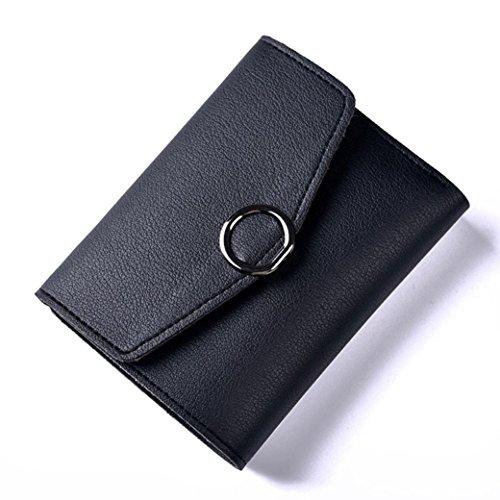 Portafoglio Donna, Tpulling Borsa della borsa della borsa della frizione della borsa del raccoglitore del cuoio delle donne (Pink) Black