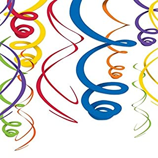 Amscan Rainbow Hanging Swirls Decorations 55cm, Vinyl