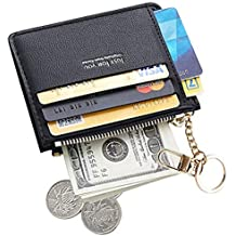 VMAE Mini Zipper Key Chain Wallet, PU Leather Credit Card Coins Purse for Women Girls
