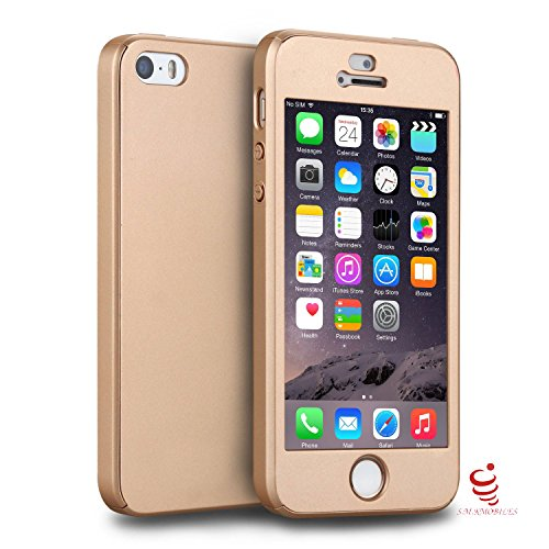 Smkmobiles S.M.KMOBILES All-round Full Body Protection 360 Degree Hard Plastic Ultra Slim Thin Back cover & Case with Tempered Glass Screen Protector for Apple iPhone 5s - Gold