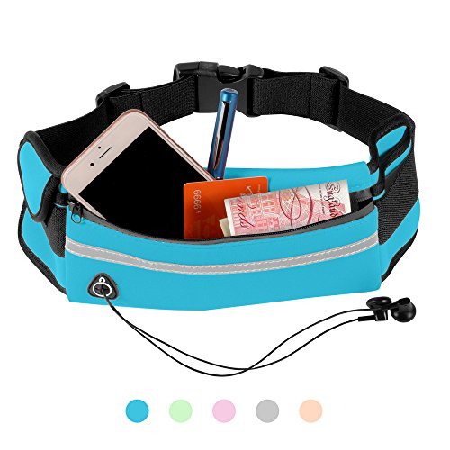 PULCHRA Running Belt Waist Pack (5 colours) Water Resistant Breathable Elastic Neoprene High Capacity Outdoor Sports Hiking Pouch Bag for Earphone Belongings Smart Phone iPhone (Blue)