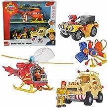 Sam El Bombero - Fireman Sam - 3 Piezas de Vehículos Wallaby, SUV 4x4, Mercury