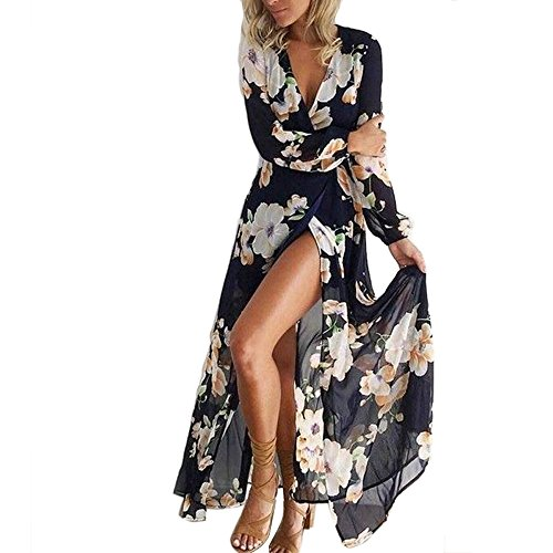 LEvifun Robe Maxi Longue Femme Ete Chic Robe de Soiree Robe de Plage Robe Vintage Sexy Boho Grande Taille Floral Dentelle Dos Nu Col V Cocktail Party Prom Sundress Chemise Tunique (XL, X Marine)
