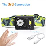 Sensing Head Torch Rechargeable with High & Low Beams, 120 Lumen Headlamp Contains IP44 Water Resistance, Apicallife LED Headlight Perfect for Running, Walking, Camping, Reading, USB Cable Included