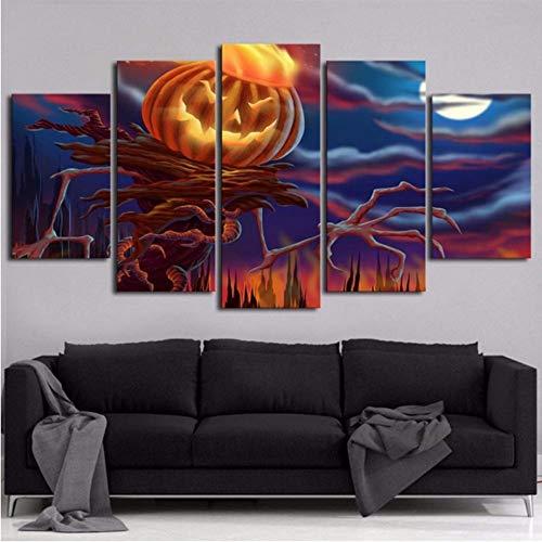 Wohnzimmer Wandkunst Bilder Auf Leinwand Home Decoration Poster 5 Panel Halloween Kürbis Kopf Moderne Malerei Hd Gedruckt ()