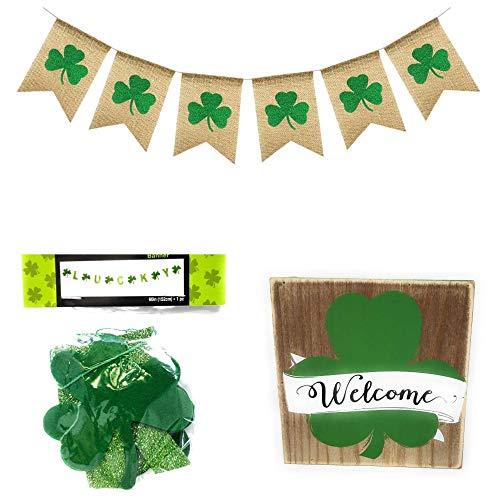 St. Patrick's Day Decorations Happy St. Patrick's Day, 1 Stück Glitzer und Filz Kleeblatt, Girlande