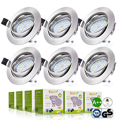 Bojim 6x Foco Empotrable Blanco Natural 4500K Led Gu10 Luz de Techo...