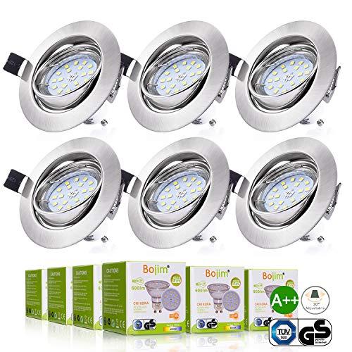 Bojim 6x LED Spots Encastrables Orientable GU10 Lampe de plafond Blanc du Jour Plafonnier Encastré 6W 600lm Equivalente de 54W Ampoule 30°orientable 120°d'éclairage 220V Rond Métal Nickel Non Dimmable