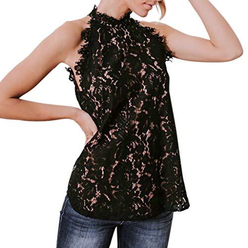 Moserian Mode Damens T-Shirt Damen Sommer Sexy Weste Sleeveless Spitze Lässige Tank Tops T-Shirt