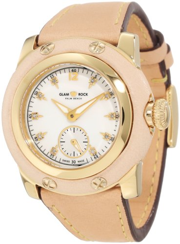 Glam Rock Women's Palm Beach 40mm Brown Leather Band Gold Plated Case Swiss Quartz Analog Watch GR40036