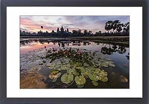 Tableau d'affiche encadrée Motif lever de soleil à Angkor Wat Angkor, Site UNESCO World Heritage, Siem Reap