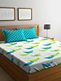 #3: Stellar Home USA by Portico IRIS Printed Cotton Multicolor Double BEDSHEET with Pillow Cover- 224X240 cm