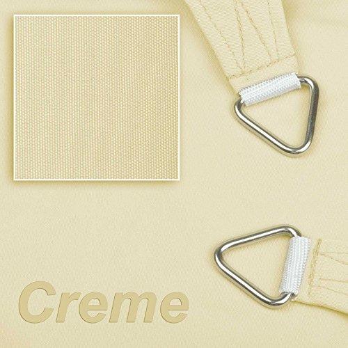 hanSe® Marken Sonnensegel 100% Polyester - wasserabweisend Quadrat 2x2 m Creme