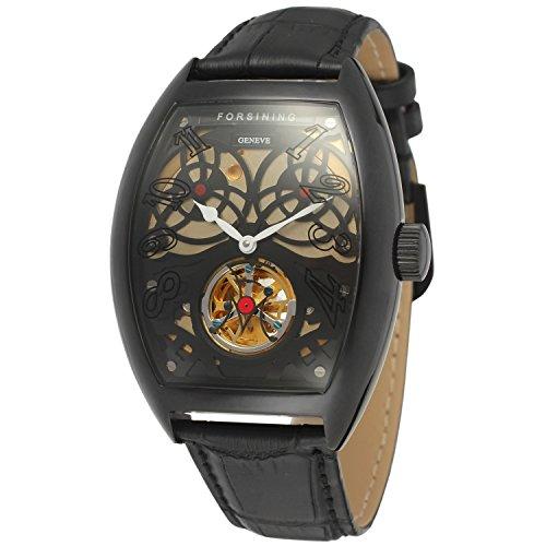 forsining Stilvolle Herren-Armbanduhr Tourbillon Tonneau mit Zifferblatt FSG9409M3B1