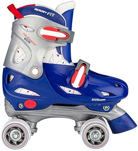 Nijdam Jungen Hardboot Rollerskates Junior Verstellbar, Blau/Rot/Silber, 30-33 (Roller Skate Shop)