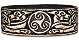 Lederarmband geprägt 24MM aus Vollrindleder Keltische Triskele Keltische Hunde (13) schwarz-antik mit Druckknopfverschluss (nickelfrei) (23 Zentimeter)