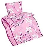 Aminata Kids – Bettwäsche 135x200 cm Kinder Mädchen Prinzessin Baumwolle + Reißverschluss Pink Rosa Weiß Krone Blumen Herzen Fee Märchen Kinderbettwäsche 2-teiliges Bettwäscheset Bettbezug Ganzjahr