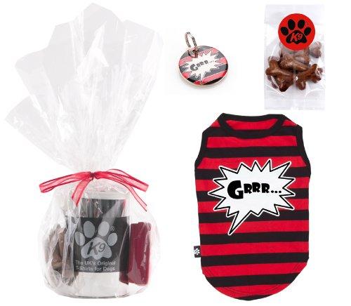 K9Geschenk-Set: Ein T-Shirt gestreift mit Aufschrift Grrr in einer Schachtel aus Metall, eine Hundemarke mit Aufschrift Grrr und der Hundesnacks in Knochenform (Kostüme Aus Der Schachtel)
